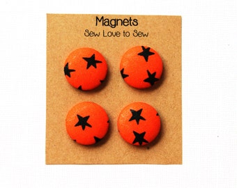 Fabric Covered Button Magnets / Black Stars on Orange Magnets / Star Magnets / Orange Magnets / Strong Magnets / Refrigerator Magnets