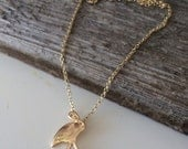 Gold FLAMINGO Pendant on a Gold Chain Necklace