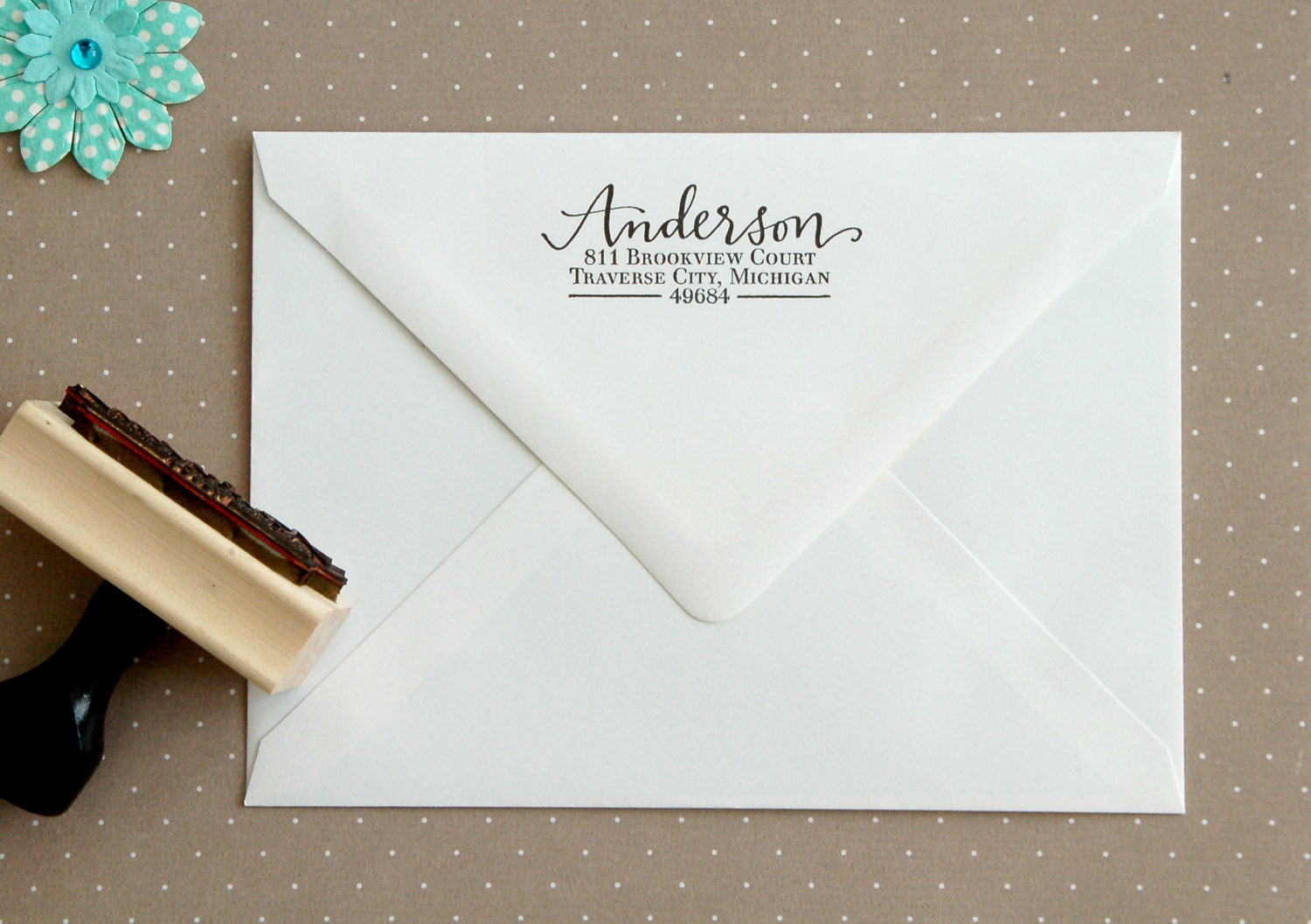 Return Address Stamp Personalized Calligraphy Stamp