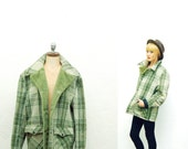 Vintage Green Plaid Oversized Slouch Jacket / Coat / Parka / Grunge  distressed / Outerwear / unisex / mens / womens