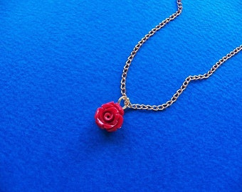 Bridesmaid Gift, Red Rose Necklace, Bridesmaid Necklace, Wedding Gift