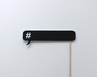 Social Media Photo Booth Props - Chalkboard Hashtag Conversation Bubble