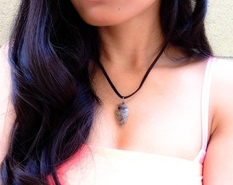 Arrowhead & Faux Suede Necklace