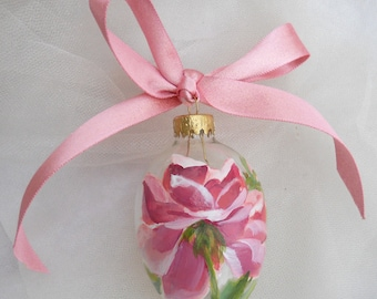 Handpainted Pink Rose Egg Ornament ~ Cottage Chic ~ Hand Painted Rose ~ Farmhouse Chic ~ Roses Easter Egg ~ Painted Eggs