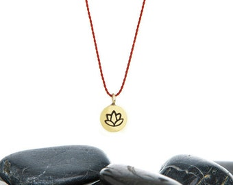 Lotus, Lotus Necklace, Tiny Necklace, lotus flower, lotus charm, yoga charm, yoga jewelry, yoga gift, Yoga Necklace, JIN247TBR