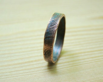 Mens wedding Band, textured personalised mens ring size 10 and other, hammered copper ring, wedding band, men ring, promise ring