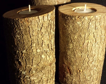 Natural candle holders, rustic weddings, etc.