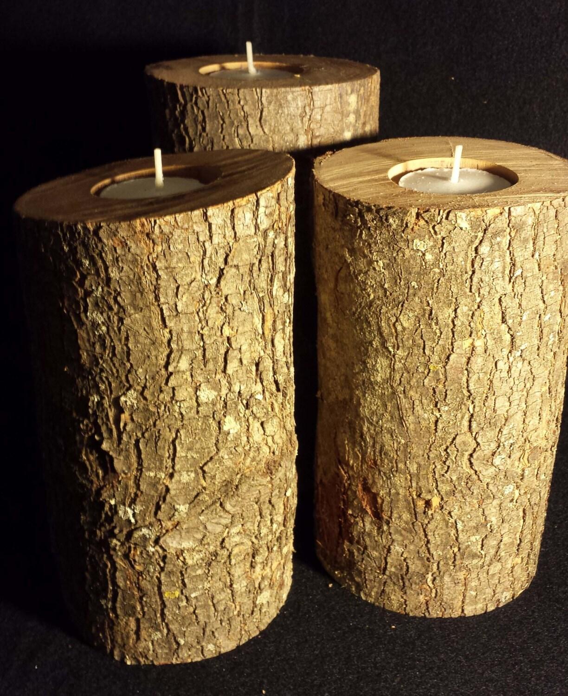Rustic cherry wood candle holders weddings etc set by for Rustic wood candle holders