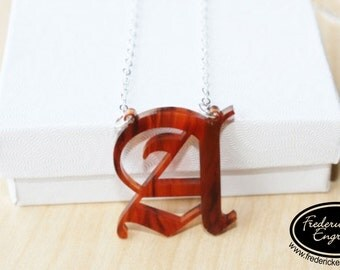 "Acrylic Gothic Initial Necklace - Personalized Initial Necklace - Unique Acrylic Colors - 1.25"" Pendant"