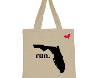 RUN Florida Canvas Tote Bag