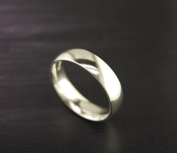Half Round Plain Comfort Fit Silver Ring Band By Silvershowroom