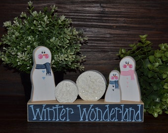 Winter Wonderland Holiday Block Set Snowman Holiday Decor Shelf Sitter Winter Wonderland Holiday Decoration Snowball Winter Decor Block Set