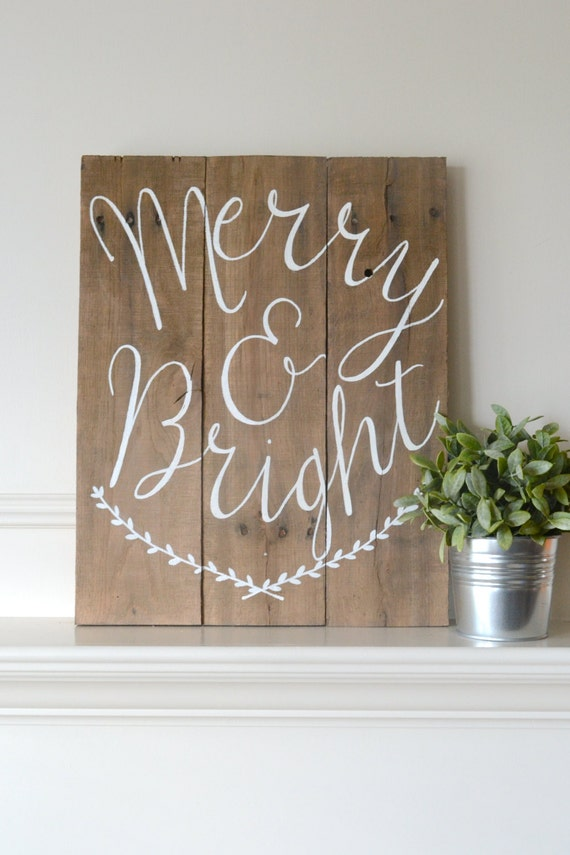 Items Similar To Reclaimed Wood Art Sign Merry Amp Bright