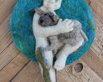 "Felted wall hanging ""Friendship"". Animal. Boy. Dog.  Handmade, needlefelted, picture, made to order."