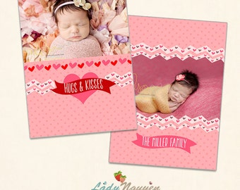 INSTANT DOWNLOAD - Valentine Photoshop Card Template - CA436