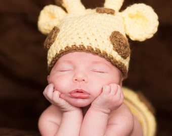 Giraffe hat and diaper cover photography prop Newborn