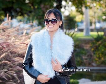 Luxury Faux Fur Scarf Sky Blue Shaggy Scarf Stole Wrap Date Night Scarves Best Online Deal Cute Fashion Fur Clothing USA Custom Made