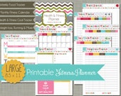 "Large {Printable} Health and Fitness Planner Set - Sized 8.5 x 11"" PDF"