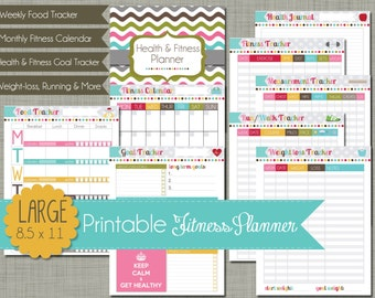 """Large {Printable} Health and Fitness Planner Set - Sized 8.5 x 11"""" PDF"""