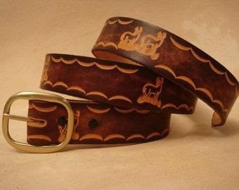 "Hand Tooled Leather Belt - Custom Leather Belt - Personalized Leather Belt - Brown 1-1/2"" Deer Pattern"