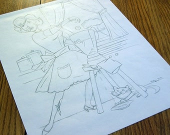 ZOMBIE Housewife & BBQ Chef pencil sketches