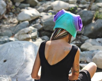 Unique handmade felt hats, turquoise , purple