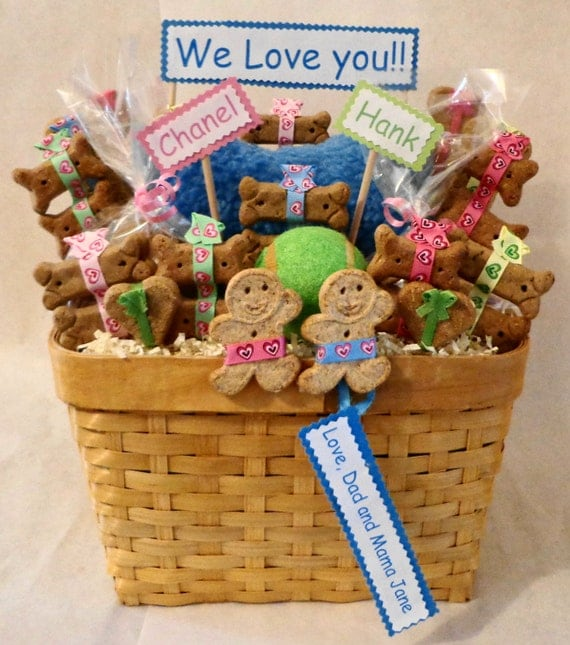 Dog Birthday Gift Baskets : Items similar to dog biscuit treat gift basket with