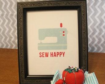 Sew Happy Sewing Machine Digital Art Print 8x10 Great Gift Idea