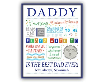 Gift for Dad - Personalize Father, Dads Birthday, Personalized Gift for Daddy, to Dad from Baby, to Dad from Daughter, Dad from Son