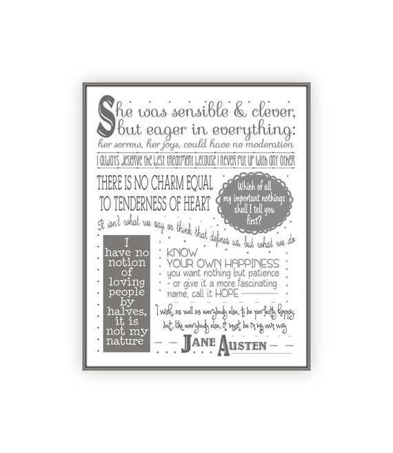Jane Austen Quote Print 11x14 Classic Book Poster Jane