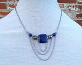 Maxi Priestess- Lapis & Pyrite Layered Chain Swag Necklace