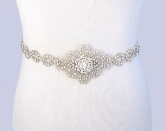 Infinity Symbol Wedding Sash, Rhinestone Bridal Belt, Crystal Bridal Sash, Beaded Jeweled Satin Ribbon Gown Ivory Sash / 35 Color Choices