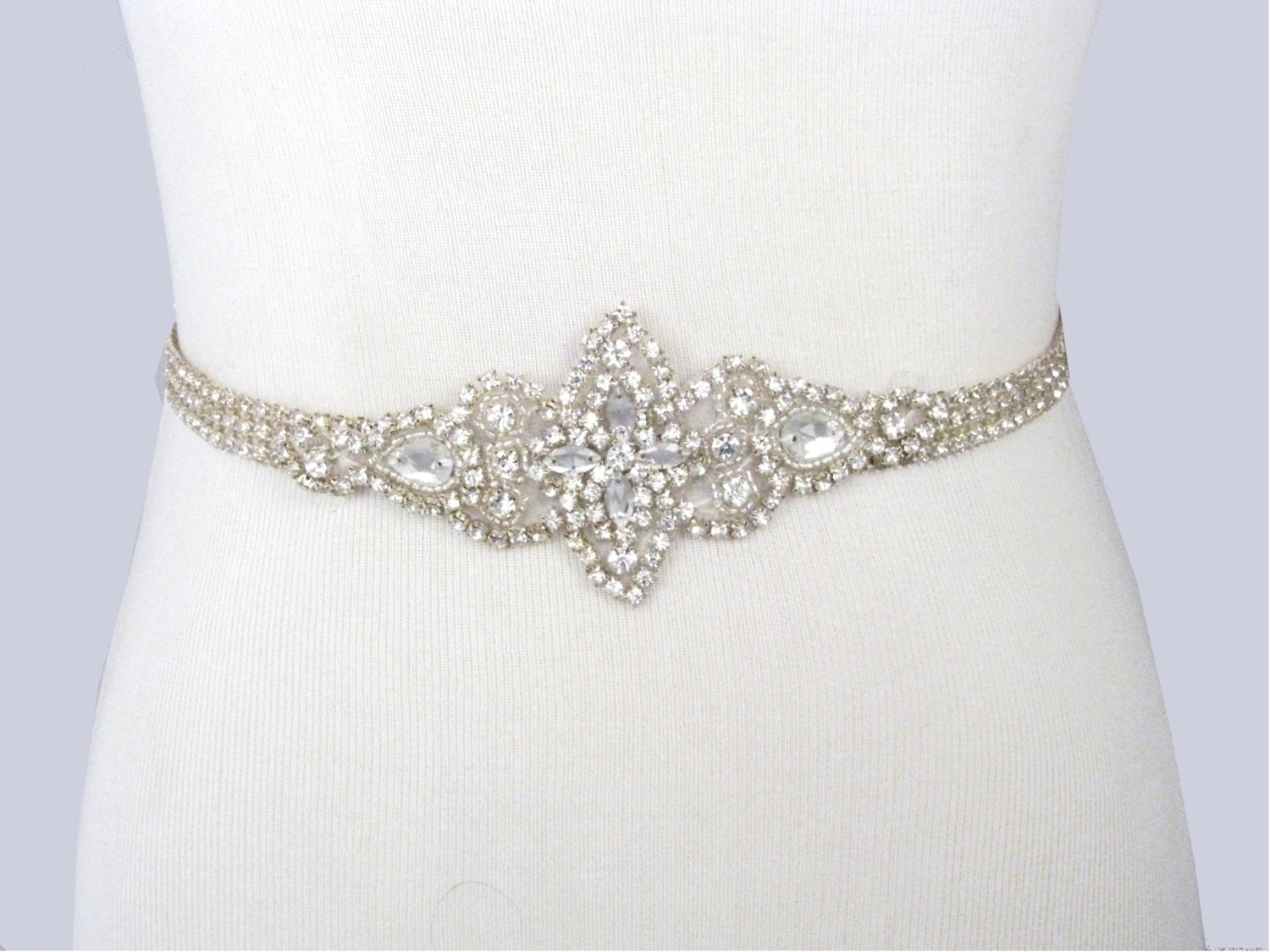 Wedding dress sash rhinestone bridal belt jeweled beaded for Rhinestone sash for wedding dress