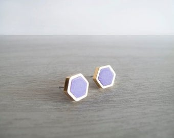 Purple Hexagon Stud Earrings - Hypoallergenic Surgical Steel Posts