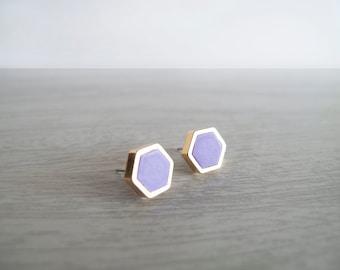 Purple Hexagon Stud Earrings - Hypoallergenic Surgical Steel Posts