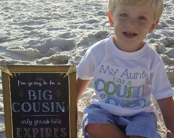 Gold Font I'm going to be a Big Cousin /Brother / Big Sister (only child expiring) Chalkboard digital File- Pregnancy announcement