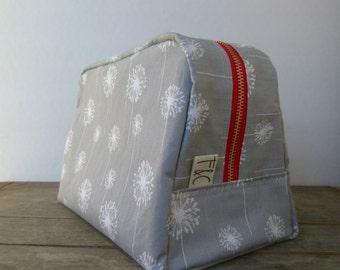 Gray Dandelion Twill Toiletry Bag, Bridesmaid Gift, Graduation Gift, Dandelion Travel Bag, Dandelion Cosmetic Bag, Cosmetic Case