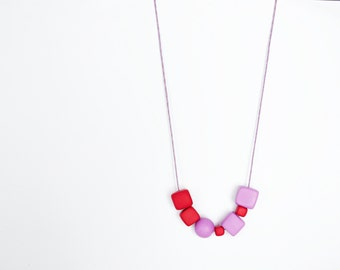 Polymer clay necklace Beadwork necklace Pastel necklace Geometric necklace Simple necklace Purple Metal free Cherry red necklace Minimal