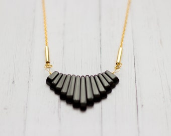 Onyx Statement  Necklace with Brass Tubes 14k Gold Filled