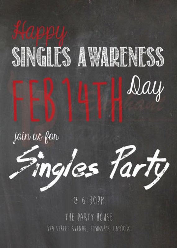 Digital Download Valentines Day Party Invitation Printable Singles Party Invite, Valentines Card Singles Awareness Day Invitation Card