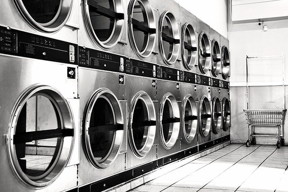 Laundromat photo printed on metallic paper