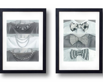 His And Her Art, Bathroom Art, Black And White Bathroom Decor, Bow Tie