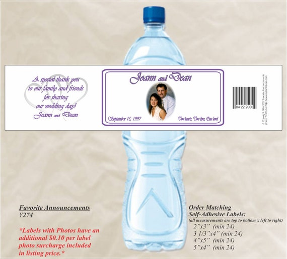 Items Similar To Photo Water Bottle Labels Wedding Showers Rehearsal Dinner