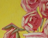 Pink Passion - Whimsical Roses, Cottage Chic Decor, Acrylic Painting, Original Art, Pink, Yellow, Green