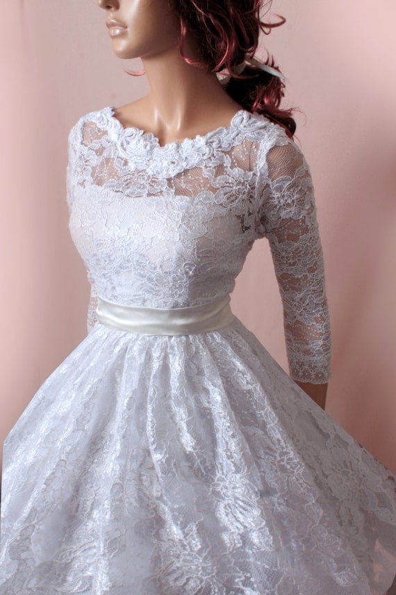 Plus size wedding lace dresses 3 4 sleeves by for Plus size lace wedding dresses with sleeves