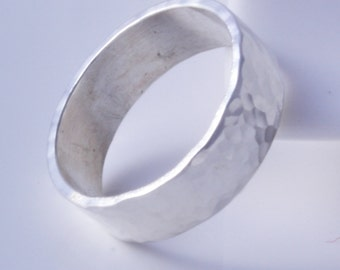 Sterling silver hammered 6mm band ring handmade choose your size custom made to order 925