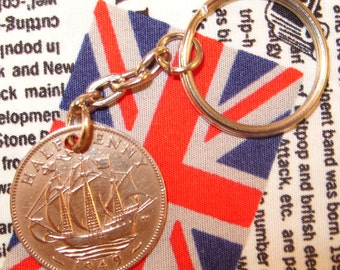 1949 Ha'penny Old Half Penny English Coin Keyring Key Chain Fob King George VI