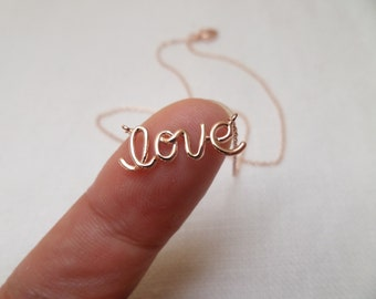 Rose Gold or Gold Love Necklace, Love Script Necklace, Cursive Writing Love Necklace, Letter Love Necklace, Wedding, Bridesmaid Gift