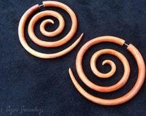Large Wood Earring, Bali Triple Size Spiral Earrings, Very Big Tribal Fake Gauge Wooden Jewelry FGW-0041-3