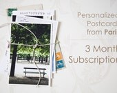 Personalized Postcards from Paris, Handwritten Postcards from Paris, 3 Month Subscription